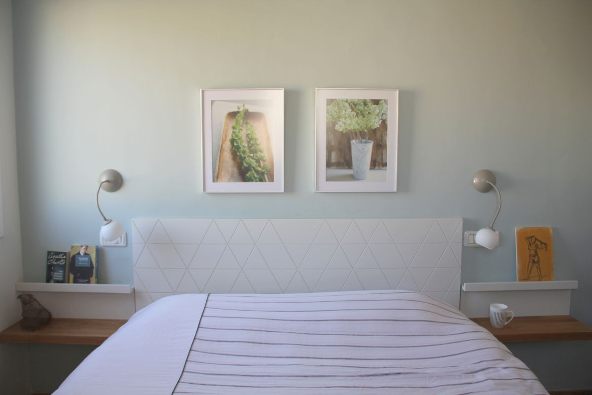 עיצוב חדר שינה - גב מיטה ומדפים בנגרות
